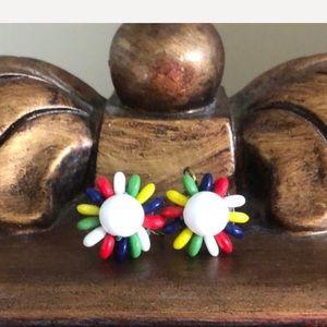 Vintage Rainbow Beaded Screwback Earrings